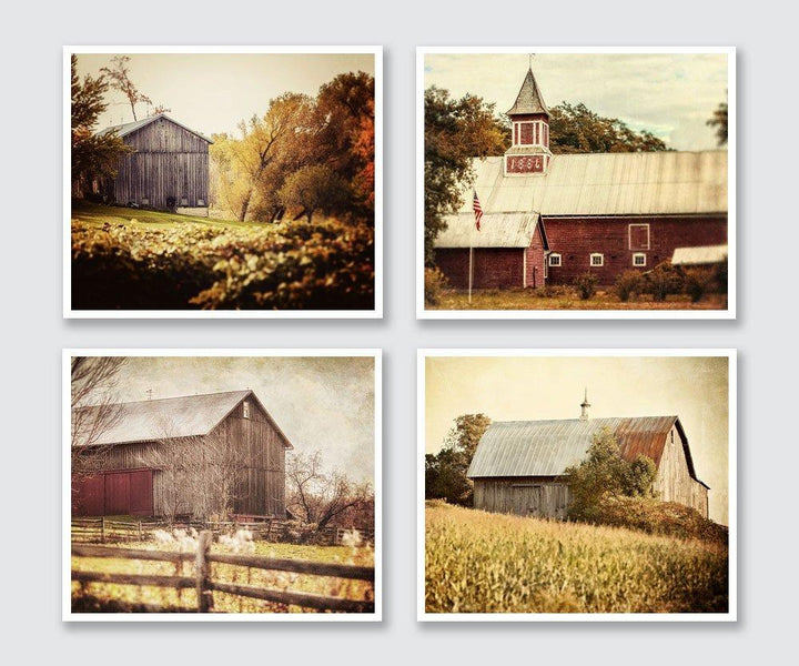 Lisa Russo Fine Art Farmhouse and Rustic Decor Golden Barns • Set of 4