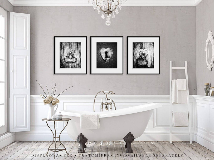 Lisa Russo Fine Art Farmhouse and Rustic Decor Heart of the Home in Black & White • Set of 3