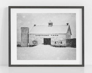 Lisa Russo Fine Art Farmhouse and Rustic Decor Lakeridge in the Winter <br>Black and White Wall Art