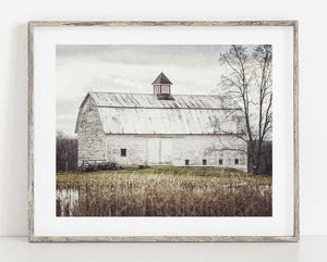 Lisa Russo Fine Art Farmhouse and Rustic Decor Pond Barn in the Fall <br>Rustic Farmhouse Decor