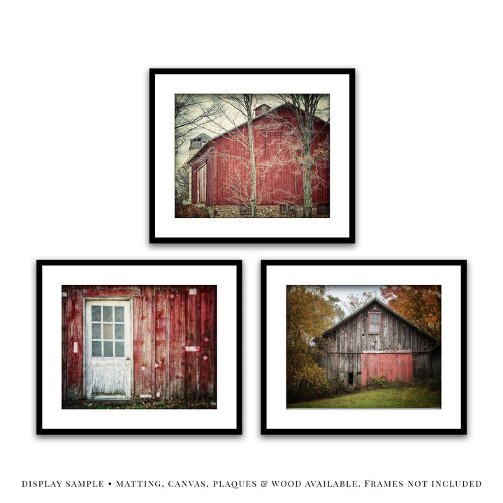 Lisa Russo Fine Art Farmhouse and Rustic Decor Red Barn Landscapes • Set of 3