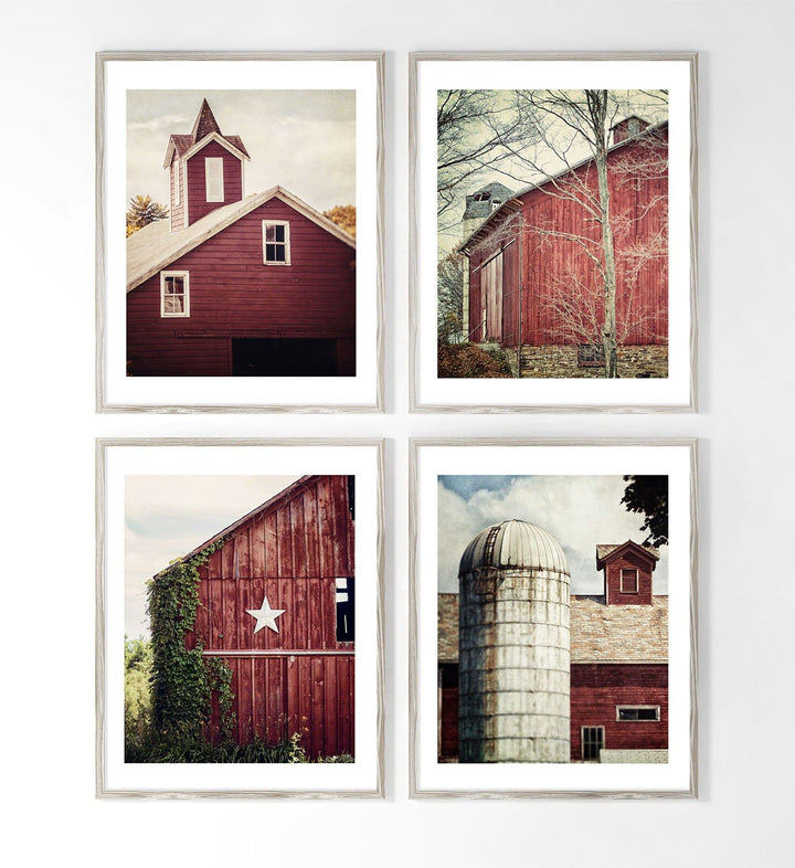 Lisa Russo Fine Art Farmhouse and Rustic Decor Red Barn Verticals • Set of 4