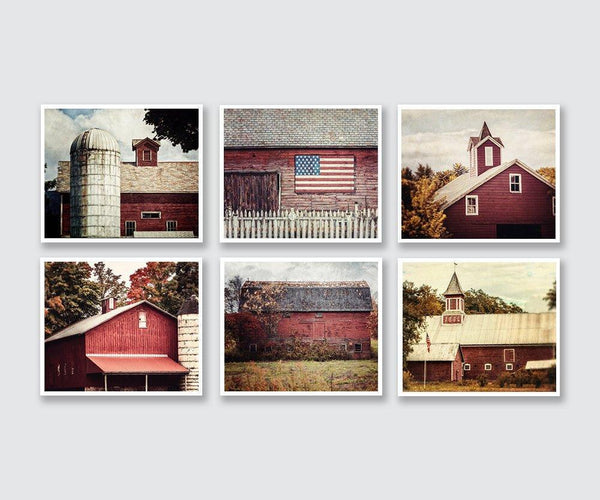 Lisa Russo Fine Art Farmhouse and Rustic Decor Red Country Barns • Set of 6