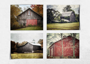 Lisa Russo Fine Art Farmhouse and Rustic Decor Red & Gray Barn Landscapes • Set of 4