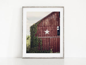 Lisa Russo Fine Art Farmhouse and Rustic Decor Red Star Barn <br>Primitive Country Home Decor