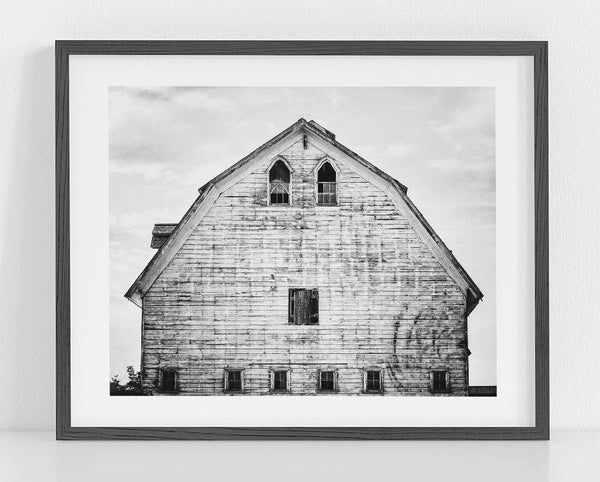 Lisa Russo Fine Art Farmhouse and Rustic Decor Sandford Barn <br>Black and White Farmhouse Art