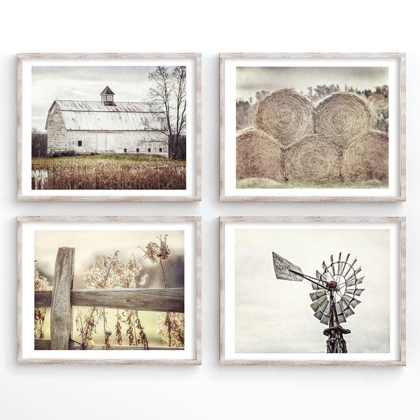 Lisa Russo Fine Art Farmhouse and Rustic Decor Serene Farm in Neutral Beige and Tan • Set of 4