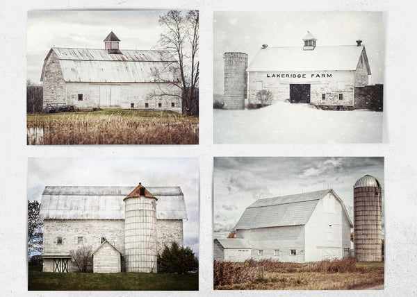 Lisa Russo Fine Art Farmhouse and Rustic Decor Set of 4 • Farmhouse Wall Decor • White Barn Landscapes through the Seasons