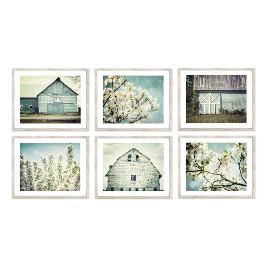 Lisa Russo Fine Art Farmhouse and Rustic Decor Set of 6 • Farmhouse Wall Decor • Shabby Chic Blue Barns & Florals