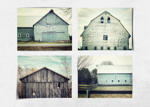 Lisa Russo Fine Art Farmhouse and Rustic Decor Shabby Chic Teal Barns • Set of 4