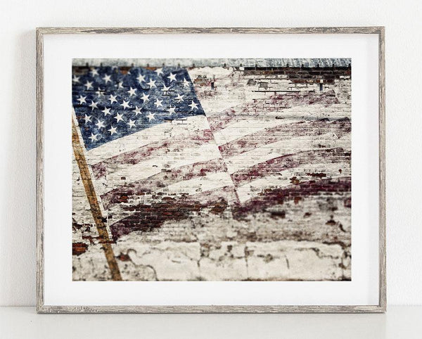 Lisa Russo Fine Art Farmhouse and Rustic Decor Stars and Stripes <br>Rustic American Flag Art