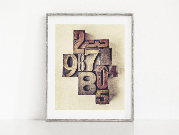 Lisa Russo Fine Art Farmhouse and Rustic Decor Typesetter's Numbers <br>Vintage Nursery Decor