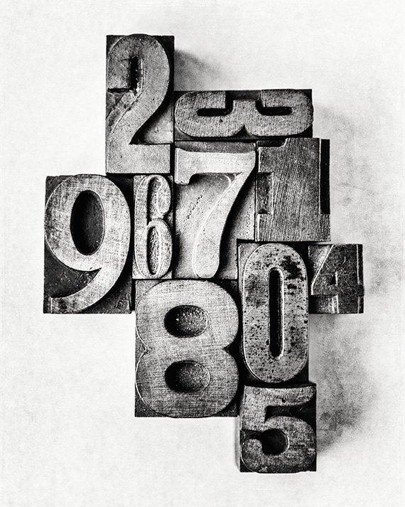 Lisa Russo Fine Art Farmhouse and Rustic Decor Typesetter's Numbers