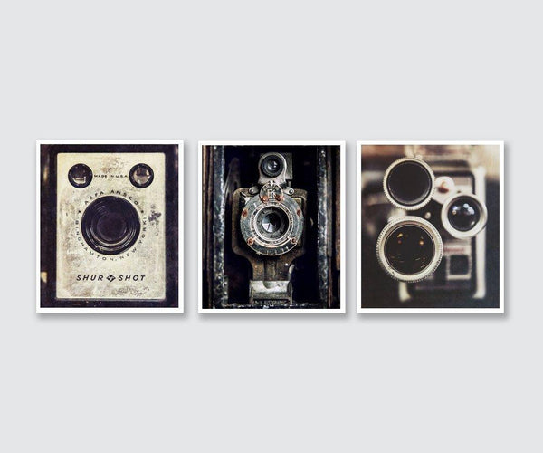 Lisa Russo Fine Art Farmhouse and Rustic Decor Vintage Cameras in Black & White • Set of 3