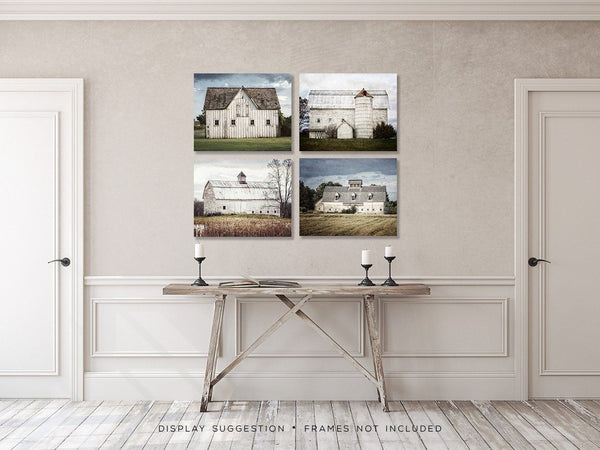 Lisa Russo Fine Art Farmhouse and Rustic Decor White Barn Landscapes • Set of 4