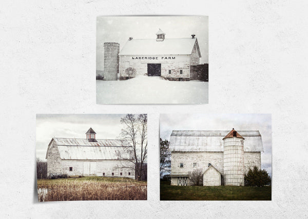 Lisa Russo Fine Art Farmhouse and Rustic Decor White Barns Through the Seasons • Set of 3