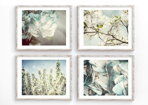 Lisa Russo Fine Art Floral Photography Blue Pastel Florals <br>Nature Photography Set of 4