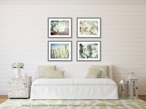 Lisa Russo Fine Art Floral Photography Blue Pastel Florals • Set of 4