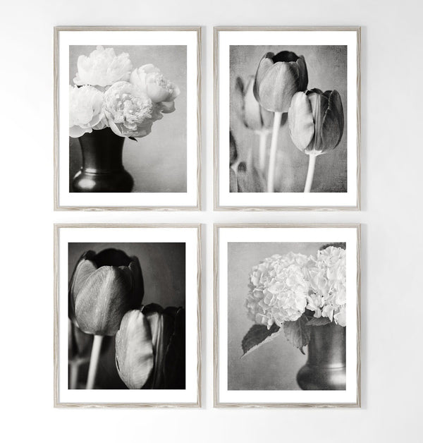 Lisa Russo Fine Art Floral Photography Elegant Black & White Florals • Set of 4