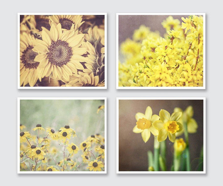 Lisa Russo Fine Art Floral Photography Golden Yellow Florals • Set of 4