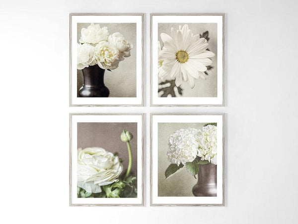 Lisa Russo Fine Art Floral Photography Ivory & Beige Shabby Chic Florals <br>Set of 4