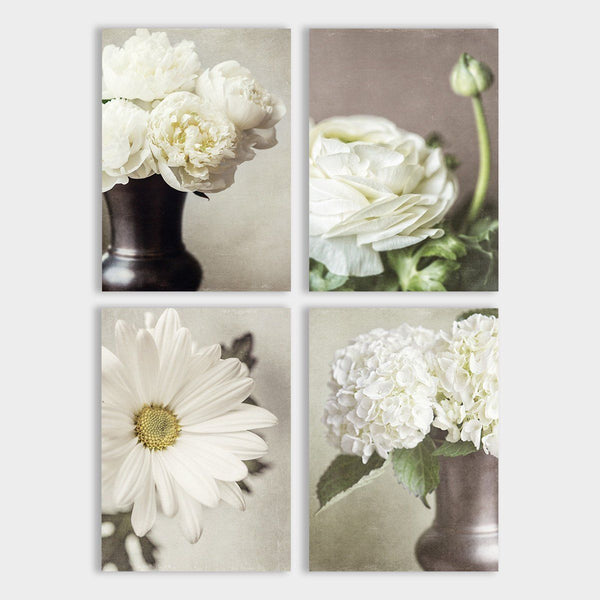 Lisa Russo Fine Art Floral Photography Ivory & Beige Shabby Chic Florals • Set of 4