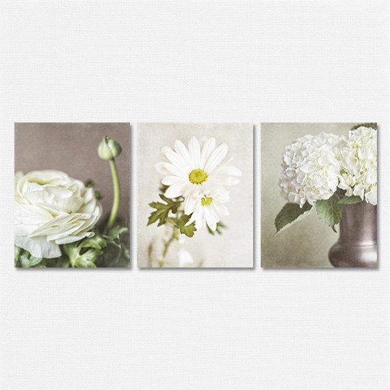 Lisa Russo Fine Art Floral Photography Ivory Shabby Chic Florals • Set of 3