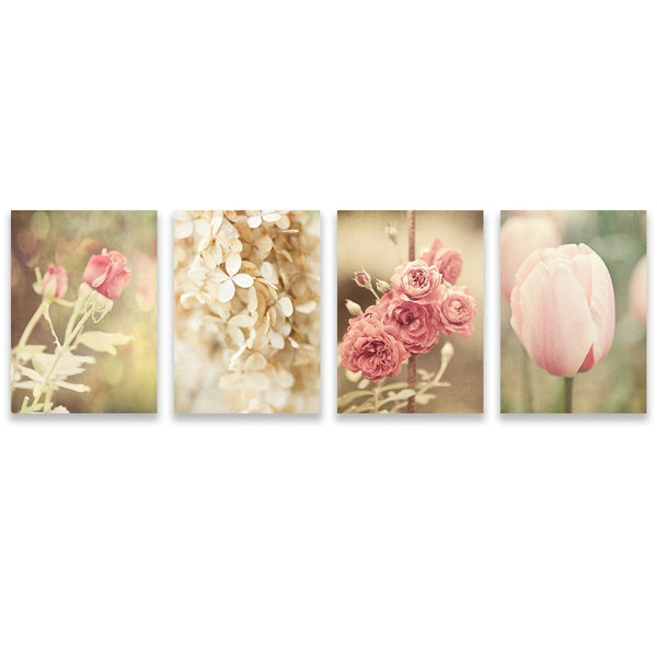 Lisa Russo Fine Art Floral Photography Pink Shabby Chic Florals • Set of 4