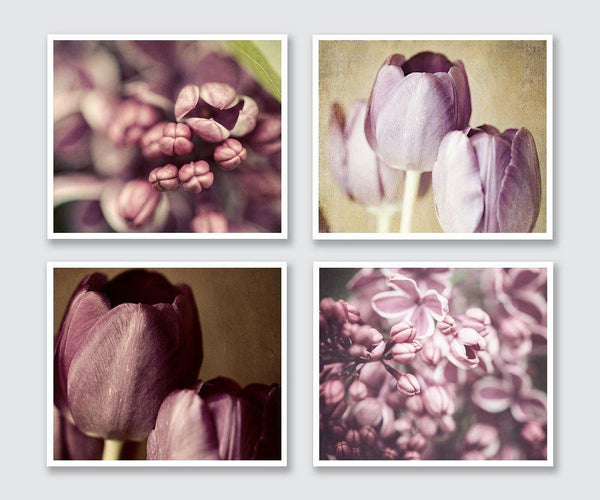Lisa Russo Fine Art Floral Photography Purple Florals • Set of 4
