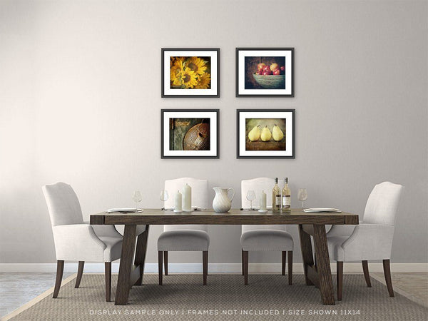Lisa Russo Fine Art Floral Photography Set of 4 • Kitchen Wall Decor • Country Sunflower
