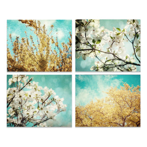 Lisa Russo Fine Art Floral Photography Teal & Yellow Florals • Set of 4