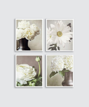 Lisa Russo Fine Art Floral Photography Vintage Sepia Florals • Set of 4