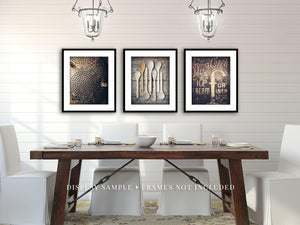 Lisa Russo Fine Art Kitchen Decor Brown Farmhouse Dining Room • Set of 3
