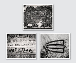 Lisa Russo Fine Art Laundry Room Decor Black & White Laundry Room • Set of 3