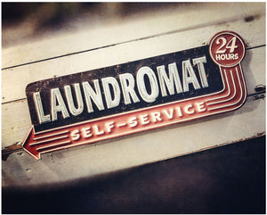 Lisa Russo Fine Art Laundry Room Decor Self-Service Retro Laundromat