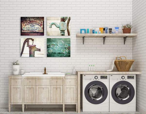 Lisa Russo Fine Art Laundry Room Decor Welcome Bubbles • Set of 4