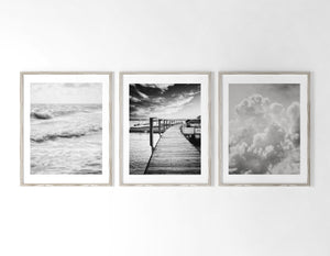 Lisa Russo Fine Art Nature Photography Sea & Sky in Black and White <br>Discounted Set of 3