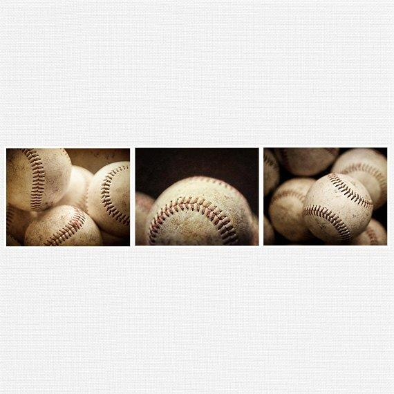 Lisa Russo Fine Art Sports Decor Baseball Trio • Set of 3
