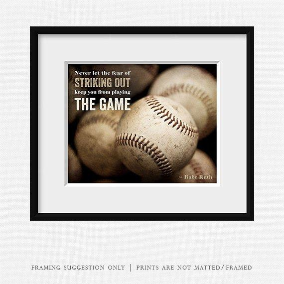 Never Let the Fear <br>Baseball Wall Art