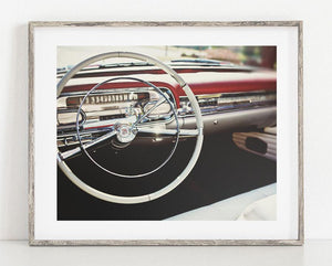 Lisa Russo Fine Art Vintage Car Photography 1950s Red Cadillac Dash <br>Retro Chevrolet Photography