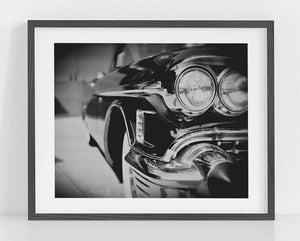 Lisa Russo Fine Art Vintage Car Photography Classic 1950s Cadillac <br>Black and White Vintage Car Art