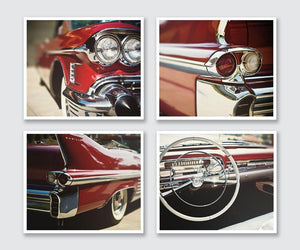 Lisa Russo Fine Art Vintage Car Photography Red 1950s Vintage Cadillac • Set of 4