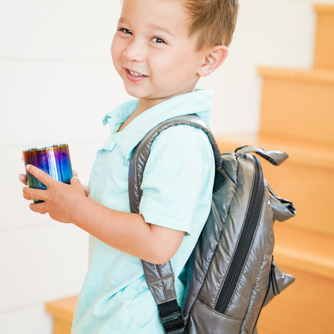 Child going back to school with Ahimsa Stainless steel cup