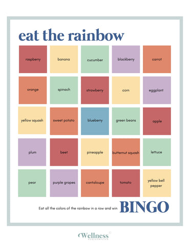 rainbow bingo, vegetables, fruit, children's health, mealtime game