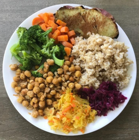 Healthy plant- based plate with rice, carrots, potato, chick peas