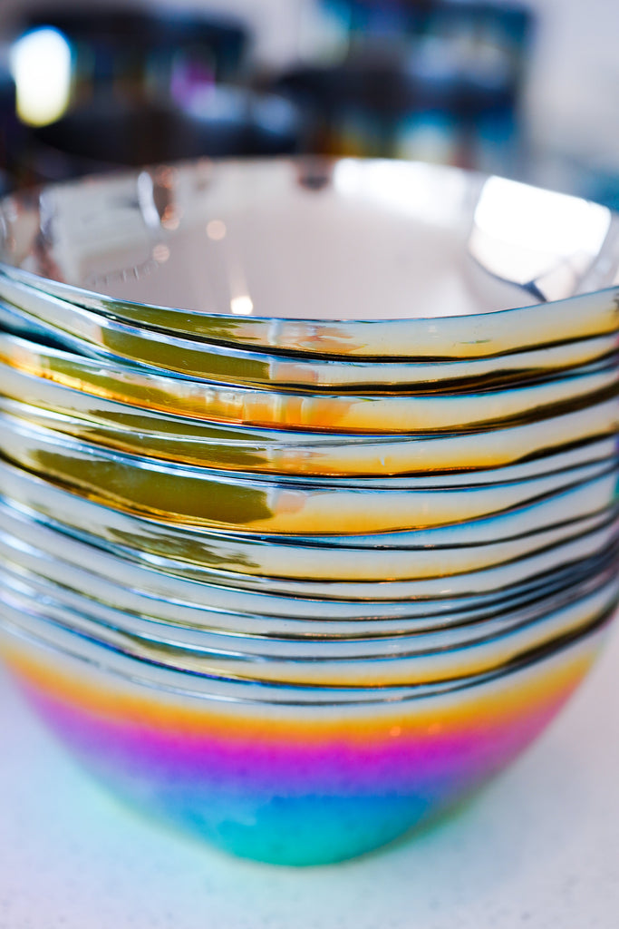Rainbow stainless steel bowls, non-toxic, plastic-free, 100% metal, no chipping or peeling