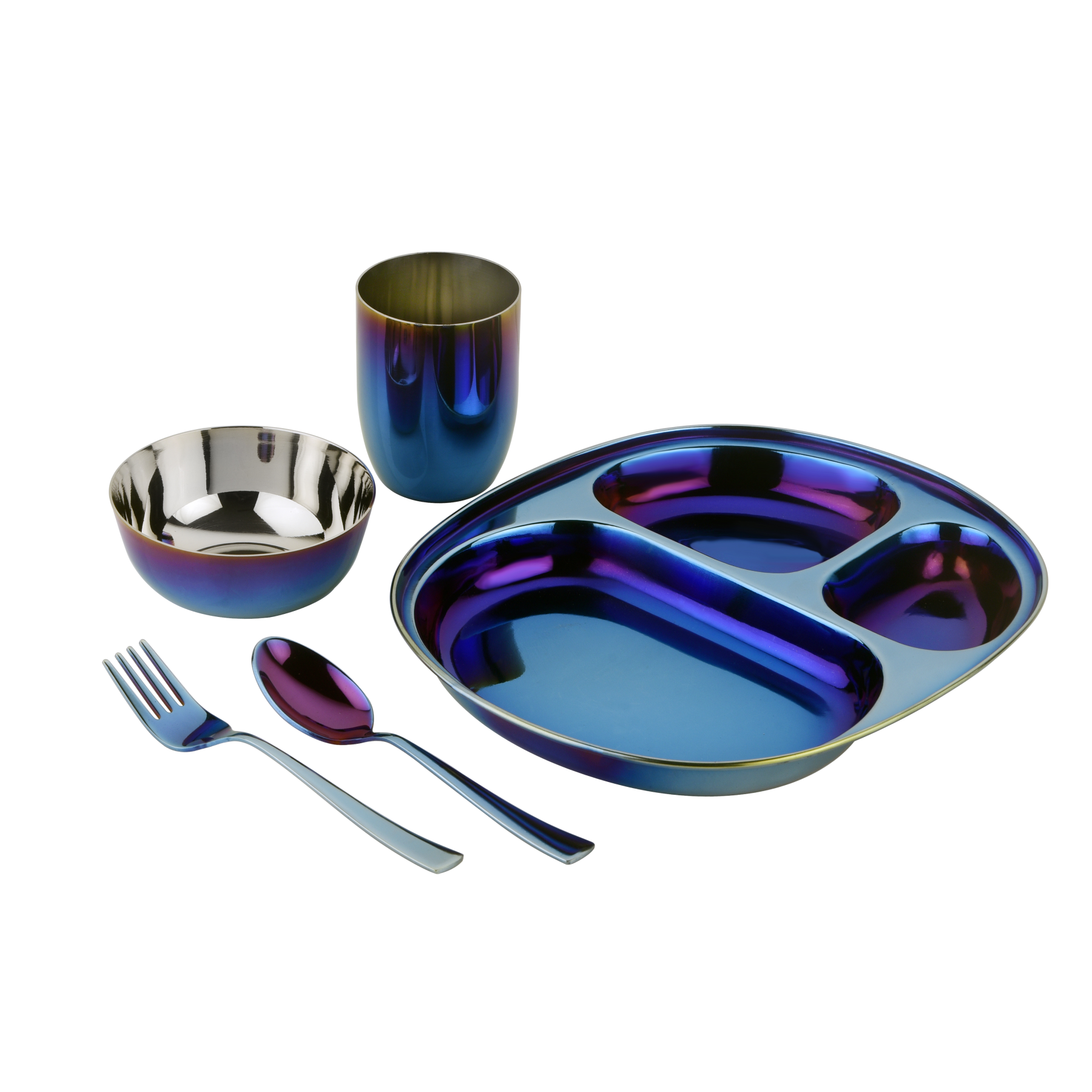 Iridescent blue compartment plate bowl cup spoon and fork for children