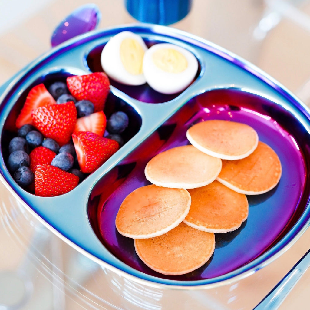 Blue stainless divide plate with healthy breakfast