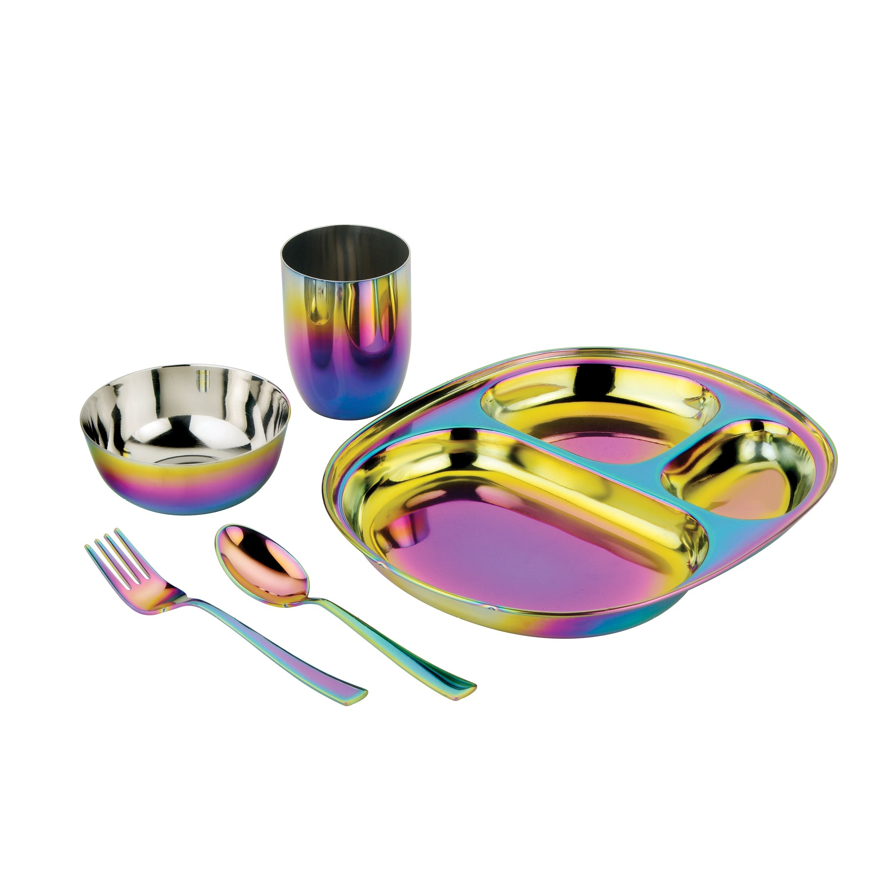 Rainbow compartment plate bowl cup fork and spoon for children