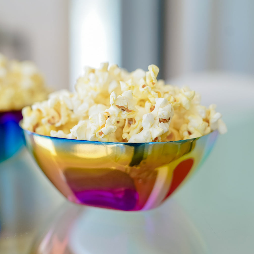 Rainbow stainless steel bowl with popcorn